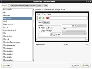 Screenshots of package gtk2-engines