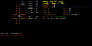 Dungeon Crawl, a text-based roguelike game