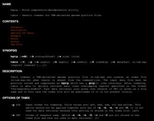 Screenshots of package tabix