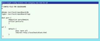 Screenshots of package squidguard