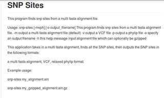 Screenshots of package snp-sites