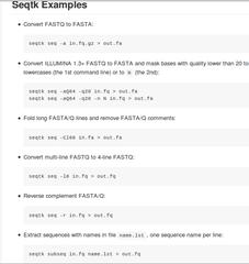 Screenshots of package seqtk