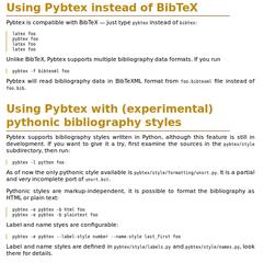 Screenshots of package pybtex
