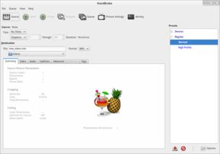 Screenshots of package handbrake