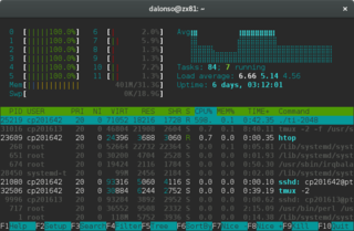 Htop with CPU average