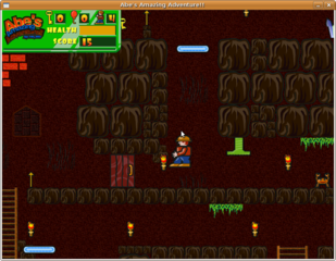 "side-scrolling game named ""Abe's Amazing Adventure"""
