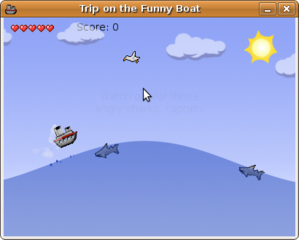 Screenshots of package funnyboat