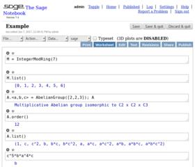 Screenshots of package sagemath