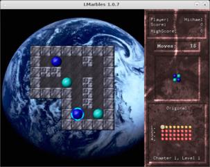 Screenshots of package lmarbles