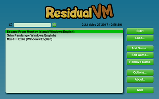 Starting window of ResidualVM showing available games.