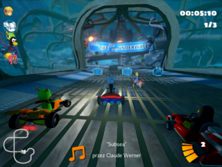 3D arcade racer with a variety of characters, tracks, and modes to play