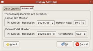 Screenshots of package lxrandr