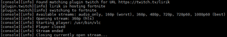 Screenshots of package streamlink