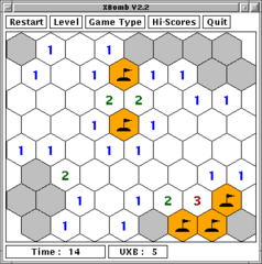 'minesweeper' game with squares, hexagons or triangles