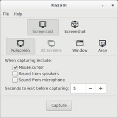 Screenshots of package kazam