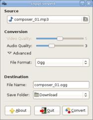 Screenshots of package oggconvert