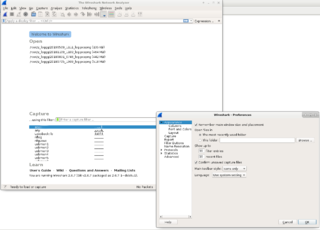Screenshots of package wireshark