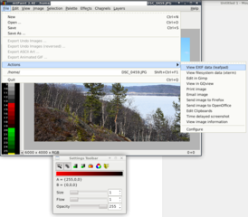 Screenshots of package mtpaint