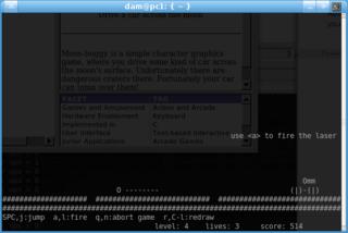 Screenshots of package moon-buggy