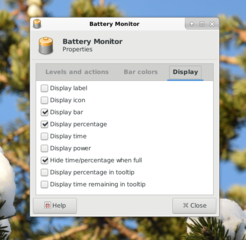 battery monitor plugin for the Xfce4 panel