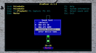 Screenshots of package alsa-utils