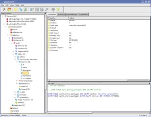 Screenshots of package pgadmin3