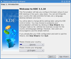 installation personalizer for KDE