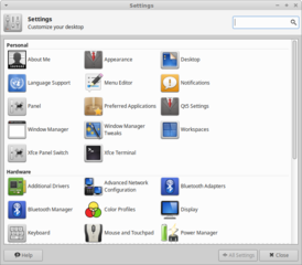 graphical application for managing Xfce settings