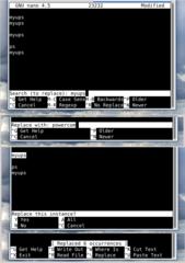 Screenshots of package nano