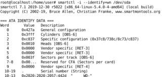 Screenshots of package smartmontools
