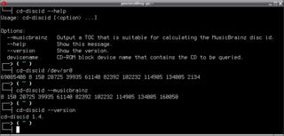 Screenshots of package cd-discid