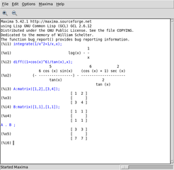 Screenshots of package xmaxima