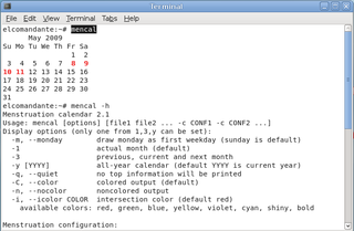 Screenshots of package mencal
