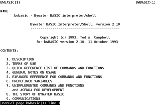Screenshots of package bwbasic
