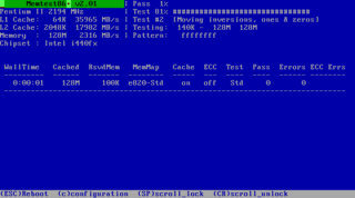 Screenshots of package memtest86+
