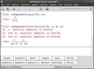 Screenshots of package wxmaxima