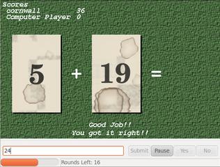 Screenshots of package mathwar