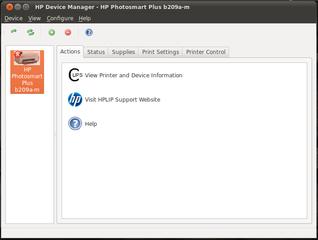 Screenshots of package hplip-gui