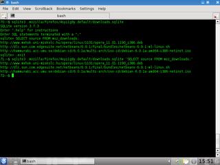 Screenshots of package sqlite3