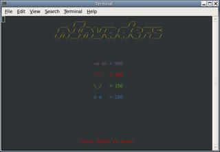 Screenshots of package ninvaders