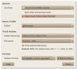 Screenshots of package sound-juicer