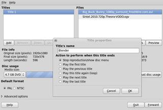 Screenshots of package devede