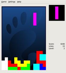 Screenshots of package quadrapassel