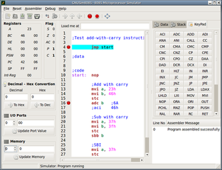 Graphical Intel 8085 simulator, assembler and debugger