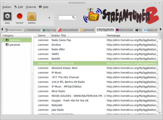 Screenshots of package streamtuner2