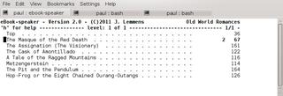 Screenshots of package ebook-speaker