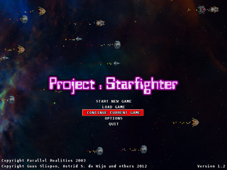 Screenshots of package starfighter