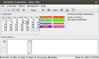 Screenshots of package pcalendar