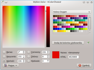 Screenshots of package kcolorchooser