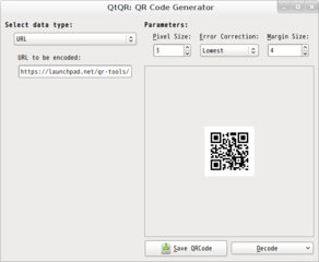 Screenshots of package qtqr